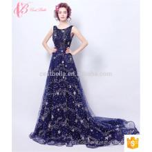 Deep V Back Frauen bestickte mexikanische Stickerei Silk Kleid Damen Chiffon zwei Stück Abendkleider