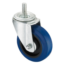 Middle Duty Series Caster - Threaded - Blue Elastic Rubber (roller bearing)