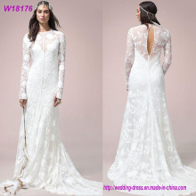 Sexy White A-Line Long Sleeve White Wedding Dress 2017