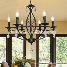 Lámpara de cristal italiana de la lámpara del negro de la vela del arrabio para el restaurante