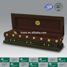 Estuches de alta calidad venta por mayor LUXES estilo americano Presidente grúas fúnebre ataúd madera