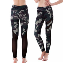 Good quality cheap sports fitness camouflage leggings yoga pants with mesh