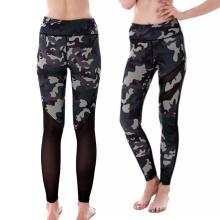 Boa qualidade barato esportes fitness camuflagem leggings calças de yoga com malha