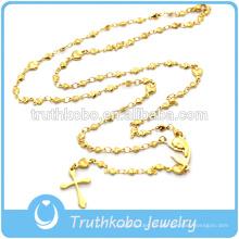 Collar de oro para hombre Cristiana Gran Madre María Religiosa Cruz colgante con cuentas