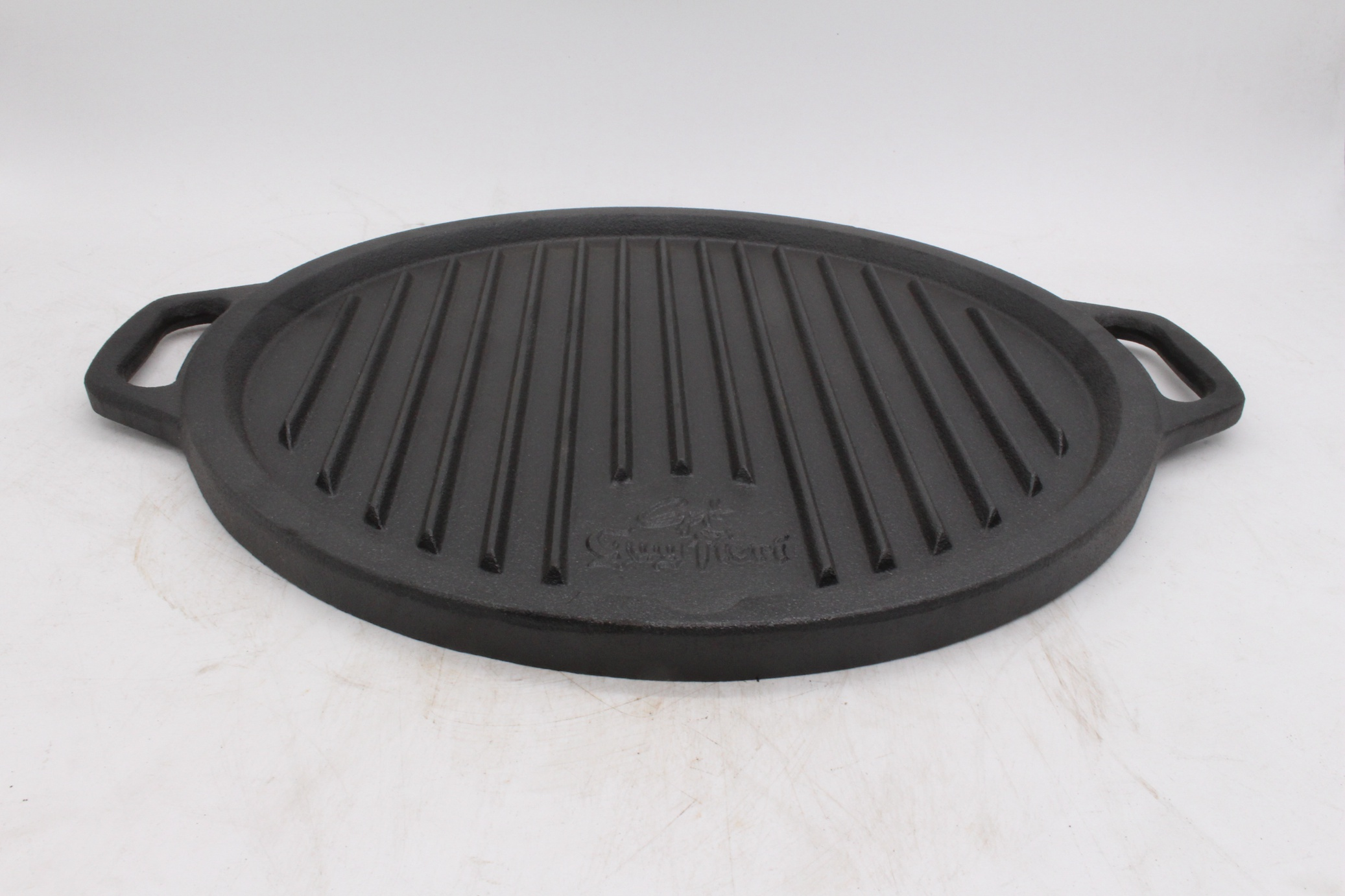 Cast iron round griddle for bbq