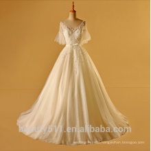 Astergarden ruffle A -line V-neck middle sleeve wedding dress ball gown TS227