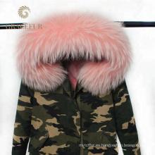Venta al por mayor precio competitivo diseñador invierno ejército verde militar parka abrigo de piel real