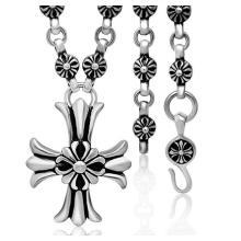 30 peças de aço colar de titânio com pingente de cruz