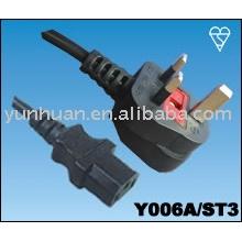 Cordon d'alimentation Grande-Bretagne style bouchon fusible de 13 a 10 a 3 broches câble IEC