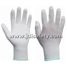 ESD Work Glove with Carbon Fiber, Coated with White PU on Palm (PC8101)