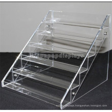Retail Store New Product Advertising Table Top 6-Layer Transparent Acrylic Bottle Stair Step Display