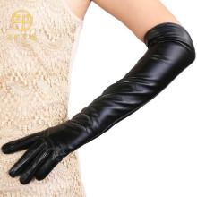 Señora moda color negro codo guantes de piel de oveja longitud del brazo
