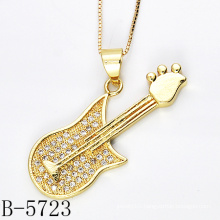 Fashion Design 925 Sterling Silver Guitar CZ Pendant (B-5723)