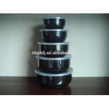 5pcs émail haute bol de rangement ensembles avec couvercle PP avec décalcomanies noires