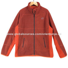 Men's soft warm jacket, made of 100% polyester double knit polar fleece, melange color