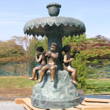 outdoor garden decoration metal craft bronze cherub fountain