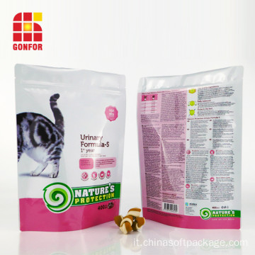 Tasca con cerniera richiudibile per imballaggio Cat Treat