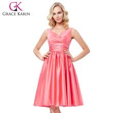 Grace Karin Sexy sin mangas con cuello en V de satén sandía color vestido de fiesta de baile corto vestido de regreso a casa menos de 100 GK000126-1