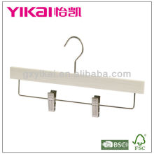 White Washed Ash Wooden Skirt Hanger with Metal Clips