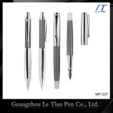 Clássico Etching Metal Ballpoint Pen e Cap-off Rollerball Pen