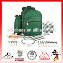 Bolso de lona aislado del refrigerador de la comida campestre de la mochila del picnic del bolso de lona del vino (ES-Z337)