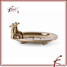 Banhado a ouro faucet forma cerâmica saboneteira