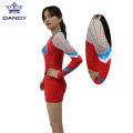 Robe de pom-pom girl jeunesse en tissu métallique personnalisé