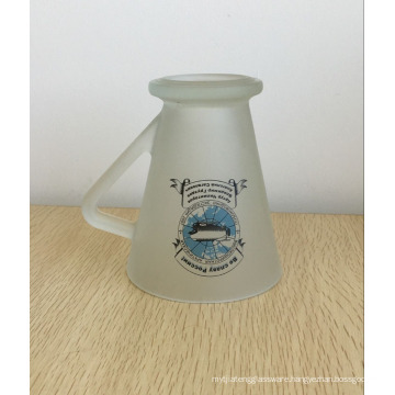 Haonai Frosted Glass Coffee Mug Cup With triangle handle and customized printing.