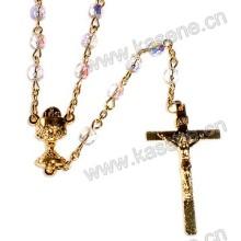 Diferentes Forma Cristal Beads Católicos Rosários Colar, Rosário Beads
