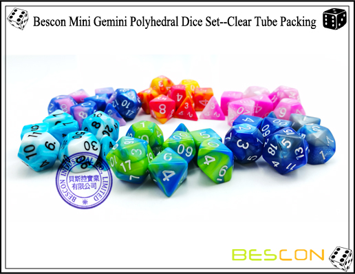 Bescon Mini Gemini Polyhedral Dice Set--Assorted Colored of 42-3