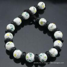 Bracelet à fleurs en perles de porcelaine de 8mm à main vendue à chaud et vendu à chaud SB-0222