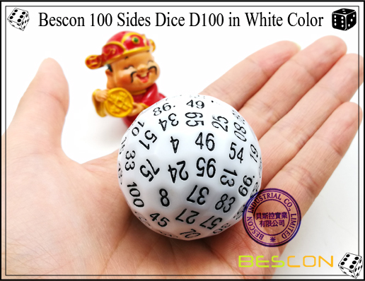 Bescon 100 Sides Dice D100 in White Color-3