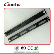 Mejor Precio 19 pulgadas montaje en bastidor 2U CAT7 24 panel de conexiones de puerta Conozca T568A / B Estándares