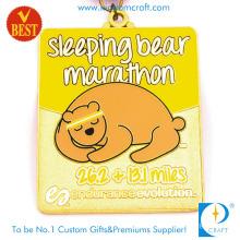 China Custom Logo Gold Stamping Enamel Epoxy Funny Cute Bear 3D Pattern Metal Sport Running Marathon Medals with Ribbon