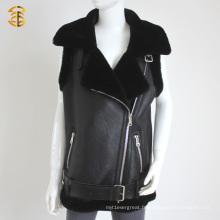 Hot-Style Black Chemisier en peau de mouton véritable Veste en cuir pour femme ou homme