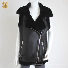 Hot Style Black Real Sheep Skin Shearling Vest Couro Vest para mulheres ou homens