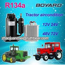 Unidade de ar condicionado de cabine de tractor de baixa tensão com compressor rotativo r134a