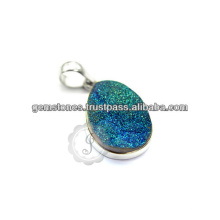 925 Sterling Silver Necklace Druzy Silver Necklace For Birthday Gift