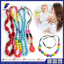 BPA Free Silicone Teething Necklace Chewelry Beads 76mm Necklace Pendant