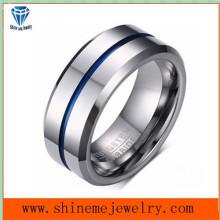 Shineme Jewelry Between Silver Blue Tungsten Ring