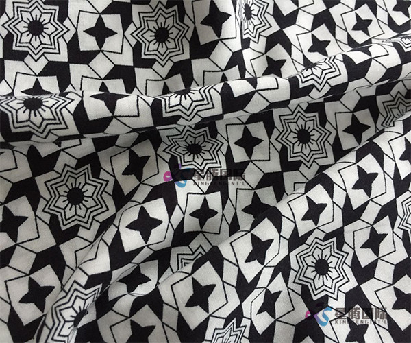 Black Geometric Print Rayon Fabric