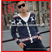 Weihnachts-Rentier-Cardigan-Männer stricken Muster Pullover Mantel