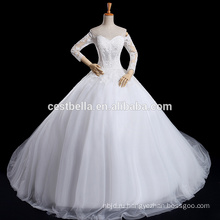 Длинный рукав длинный поезд милая декольте кружево свадебное платье бальное платье