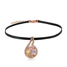 44365 xuping collar de gargantilla de cuero más popular lujoso collar de oro sintético CZ 18k colgante