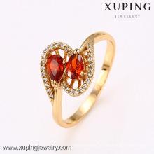 12657 bijoux Xuping bague rouge de pierres précieuses, mode gros anneaux de fiançailles en cristal à la mode