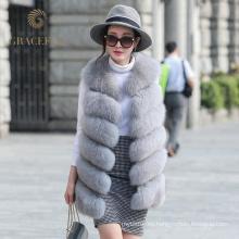 Precio de fábrica directo comprar en línea mujer real chaleco de piel de zorro