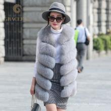 Direct usine prix acheter en ligne femme réel veste de fourrure de renard
