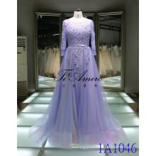 2017 Bateau à manches longues en dentelle Beading Robe de soirée Robe en fête en fleurs 3D Tiamero 1A1046