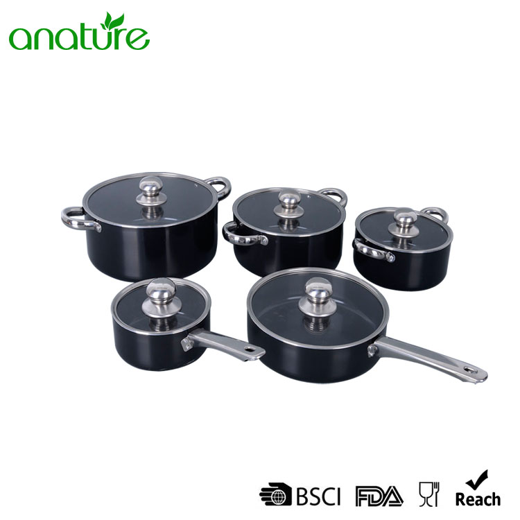 Pressed Stainless Steel Handle 10Pcs Cookware Set