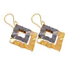 Gold Plated and Rhodium Sterling Silver Kite Earring